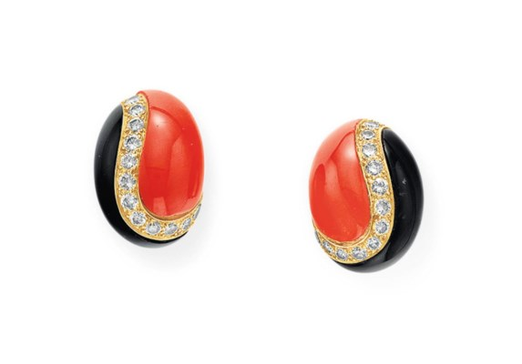 A PAIR OF DIAMOND, CORAL AND O