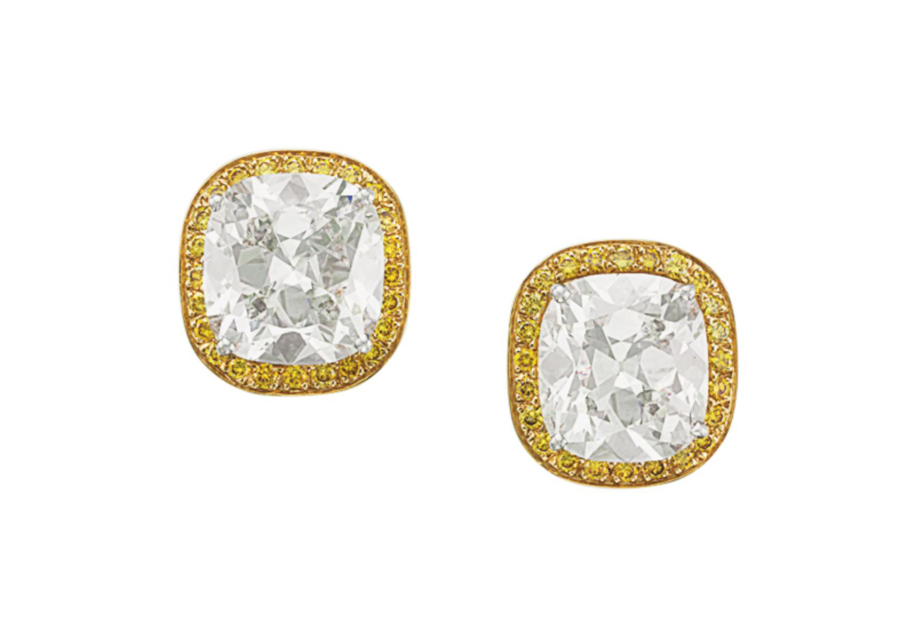 A PAIR OF DIAMOND AND COLORED DIAMOND EAR CLIPS, BY OSCAR HEYMAN & BROTHERS
