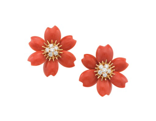 A PAIR OF CORAL AND DIAMOND 'R