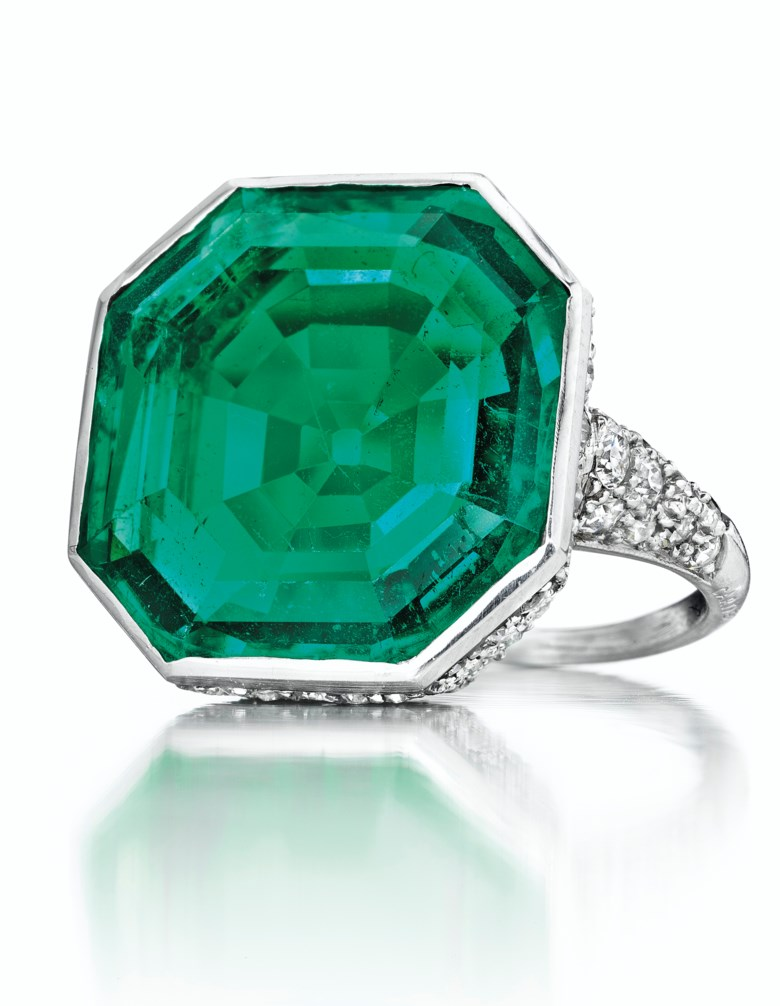 An Art Deco Emerald and Diamond Ring, by Cartier. Sold for $1,135,500 on 7 December 2016  at Christie's in New York