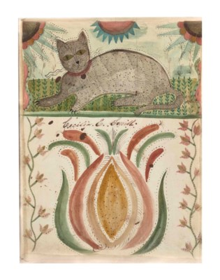 A RECLINING CAT WITH A PINEAPP