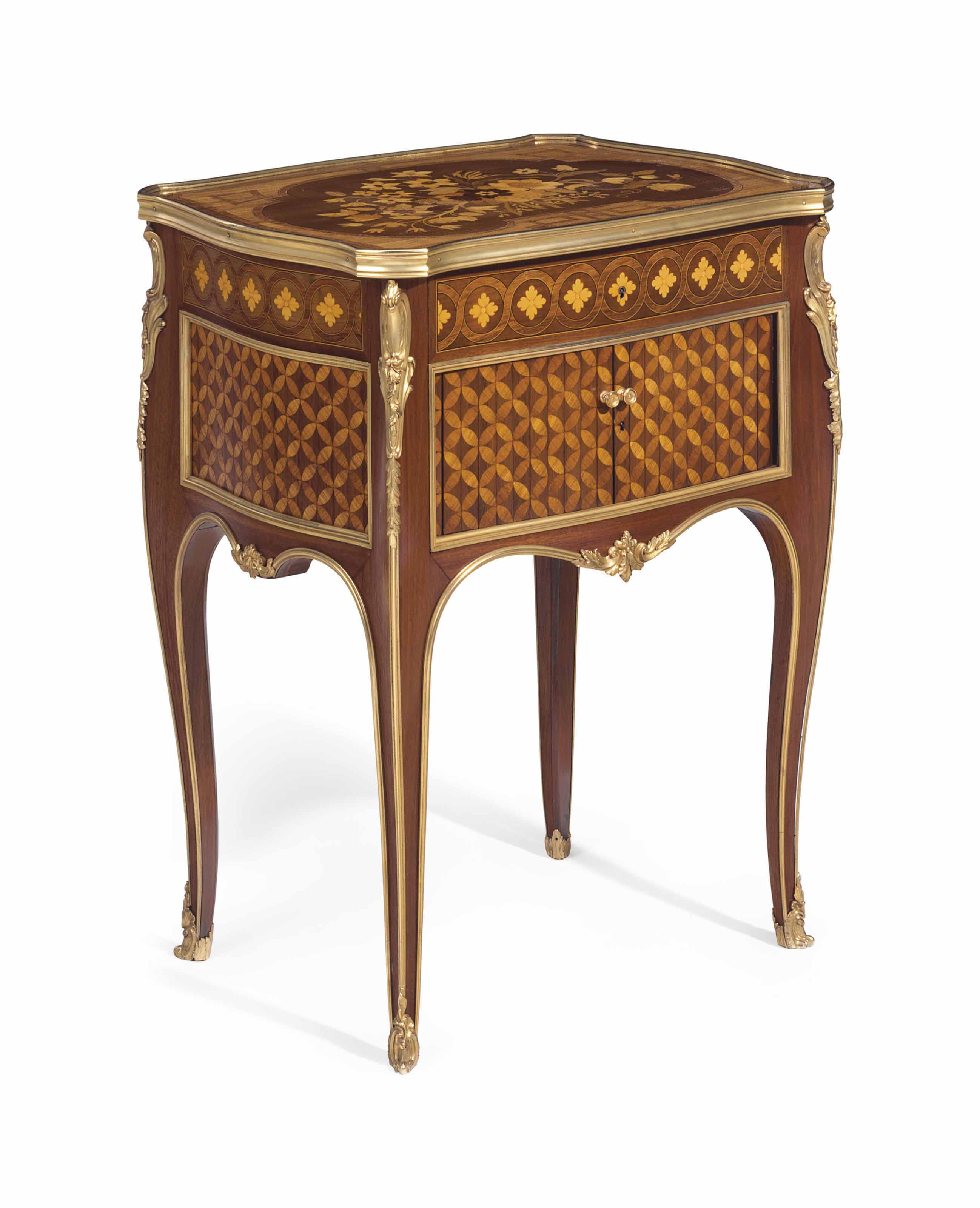 A FRENCH ORMOLU-MOUNTED MAHOGANY, TULIPWOOD, SYCAMORE MARQUETRY AND PARQUETRY TABLE DE NUIT