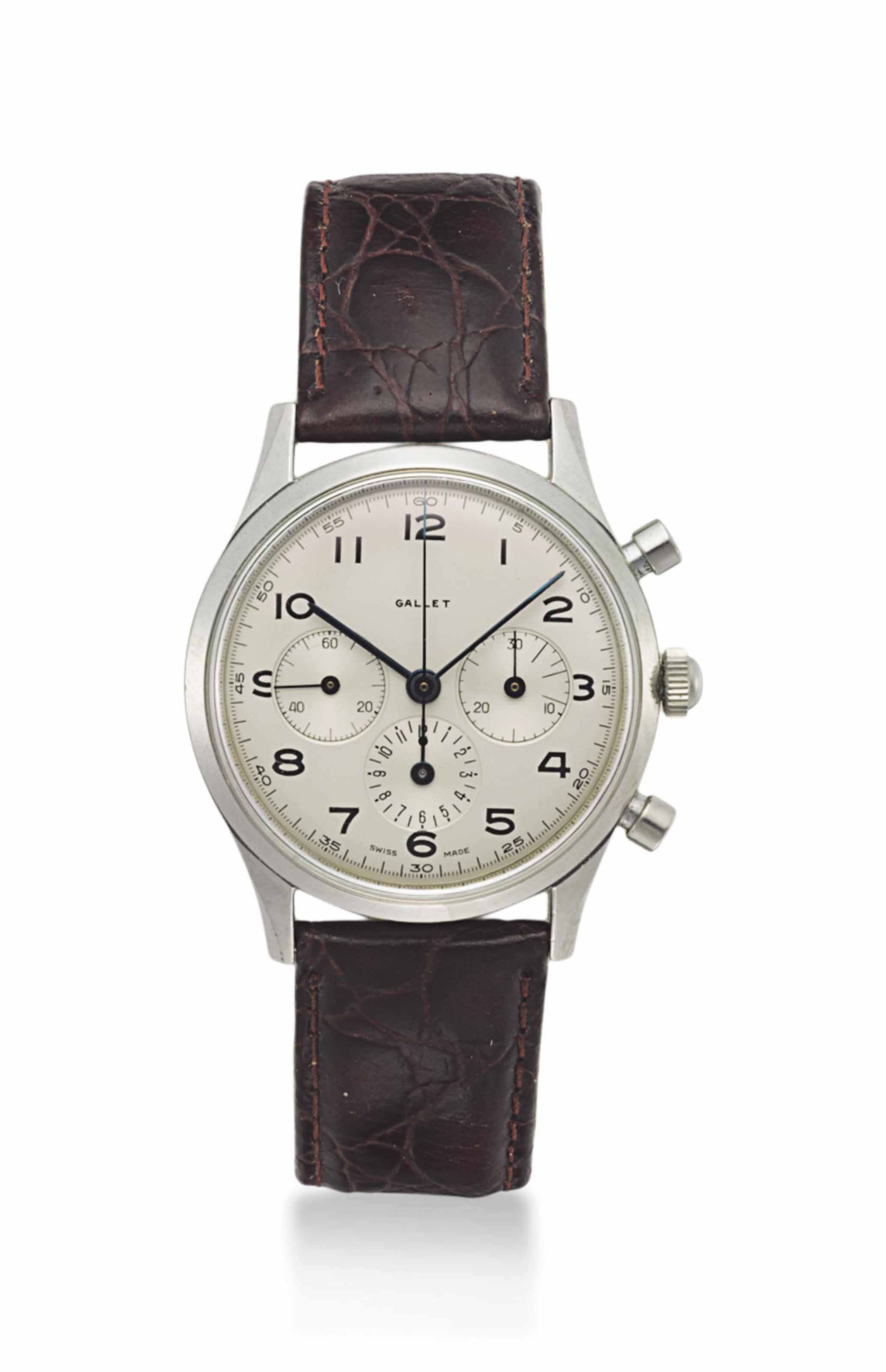 Gallet. A Stainless Steel Chronograph Wristwatch