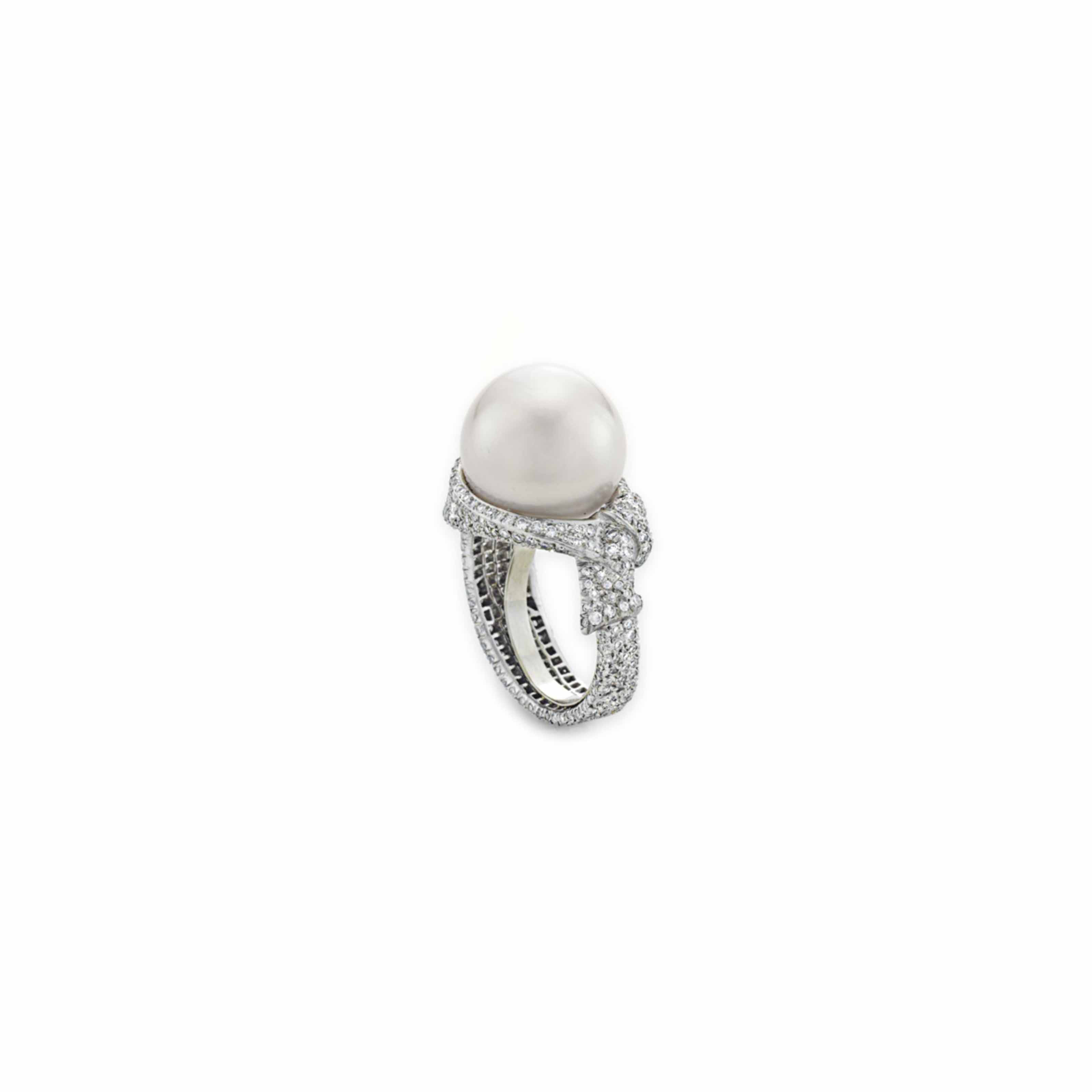 A PEARL, DIAMOND, AND PLATINUM RING, BY ANGELA CUMMINGS, TIFFANY & CO.