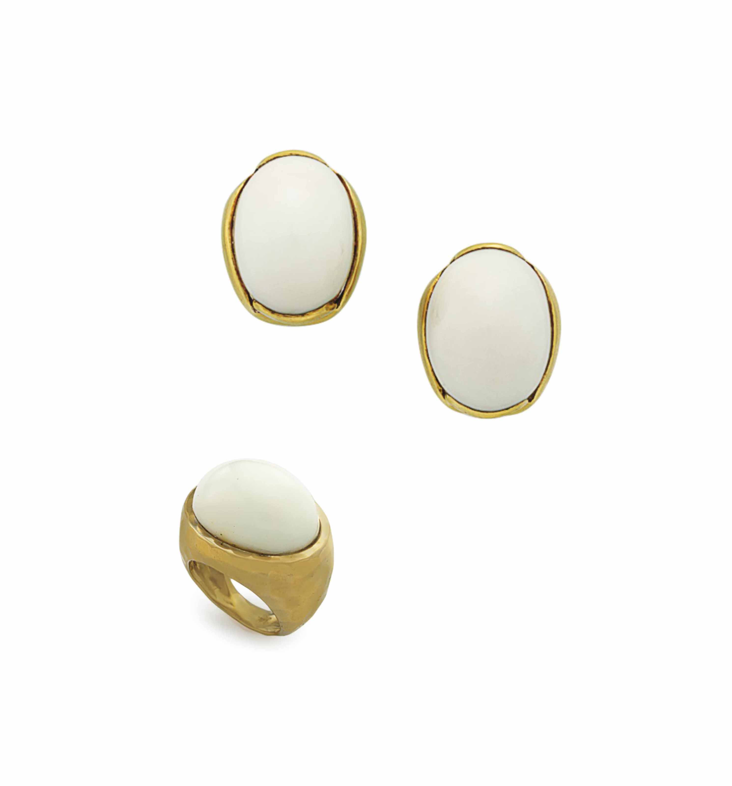 ~A GROUP OF WHITE CORAL AND GOLD JEWELRY