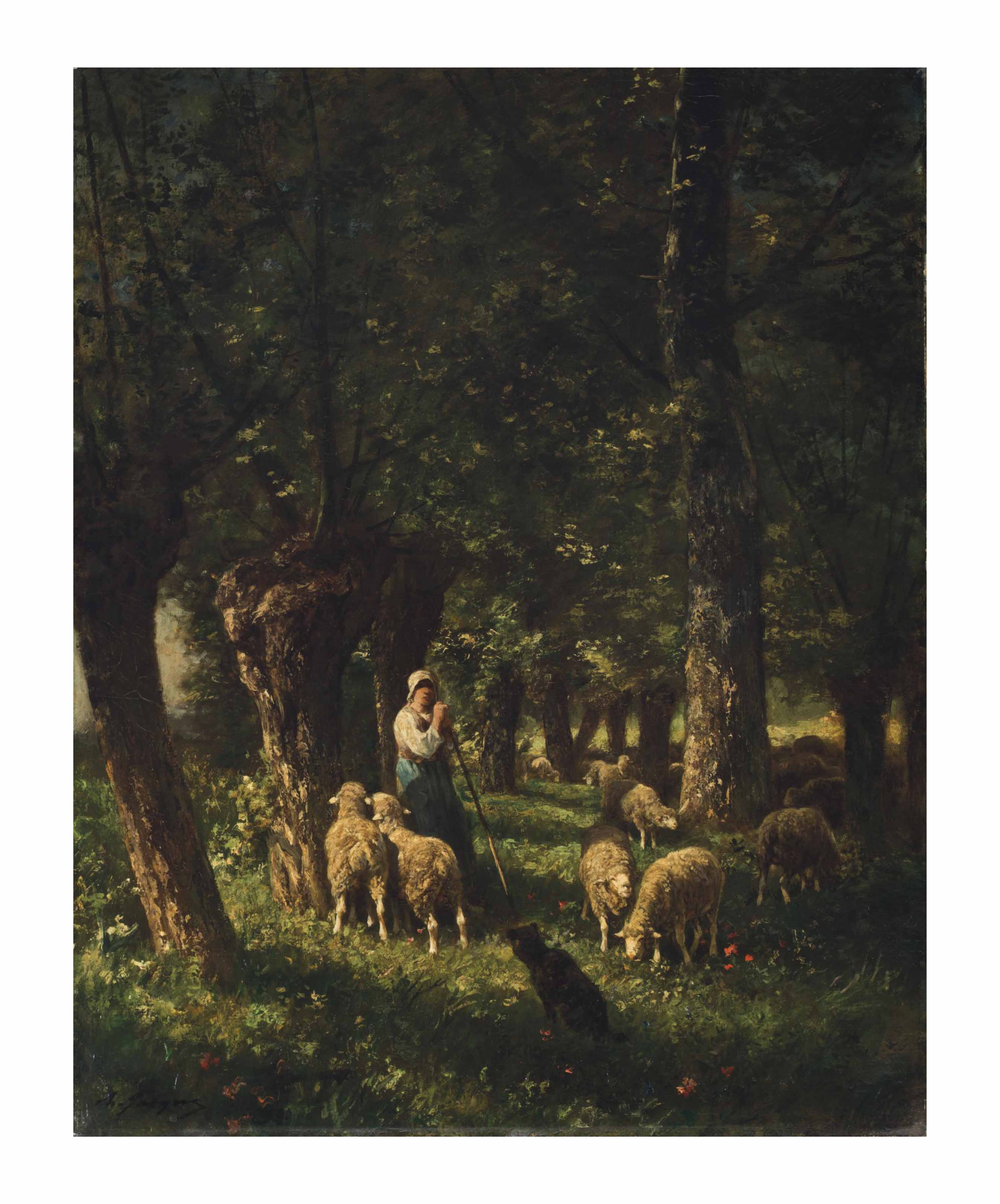A Shepherdess and Her Sheep