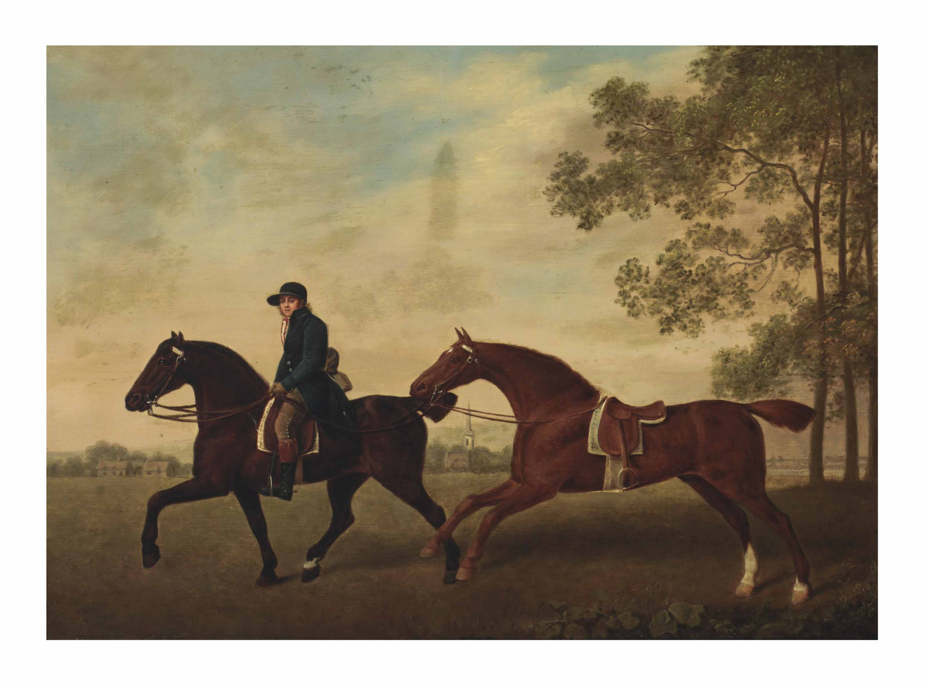 Two saddled horses, one ridden by a groom