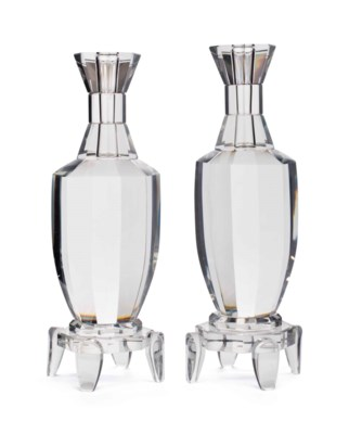 A PAIR OF CUT-GLASS FACETED CA
