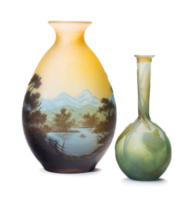 TWO FRENCH CAMEO GLASS VASES