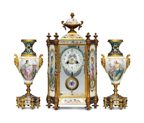 AN ORMOLU AND CHAMPLEVE MOUNTE