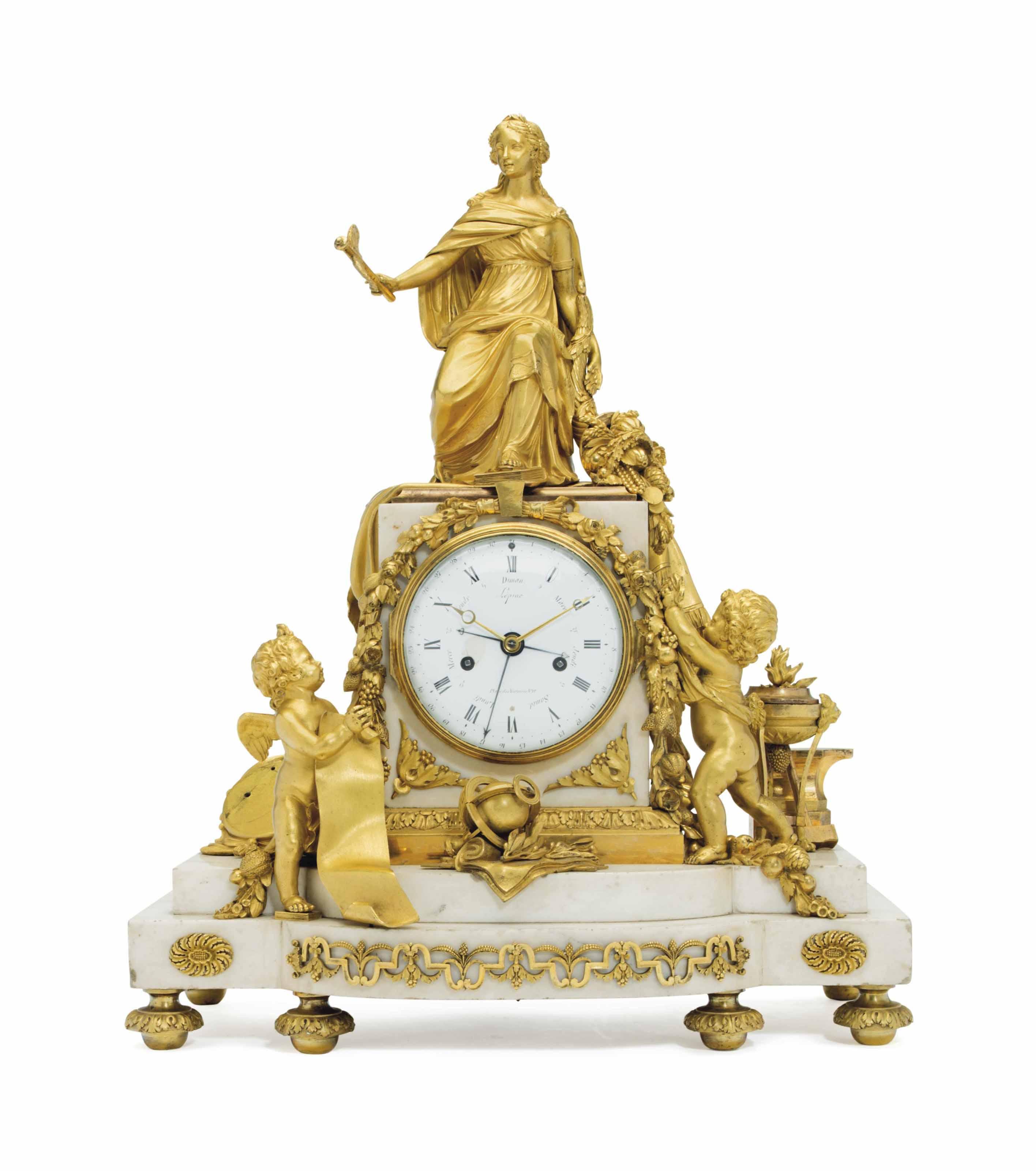A LOUIS XVI TWO-TONE ORMOLU AND WHITE MARBLE MANTEL CLOCK