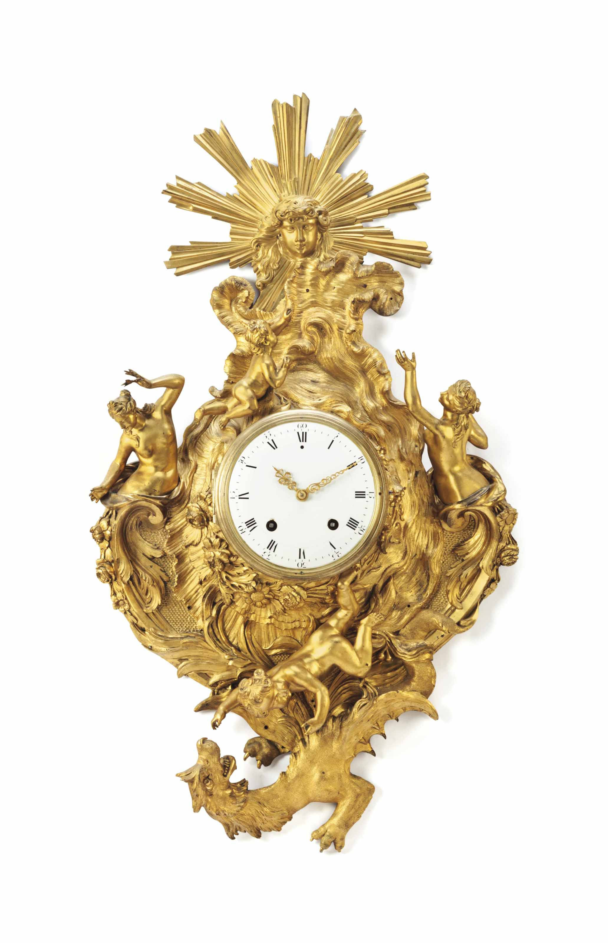 A LOUIS XV ORMOLU CARTEL CLOCK