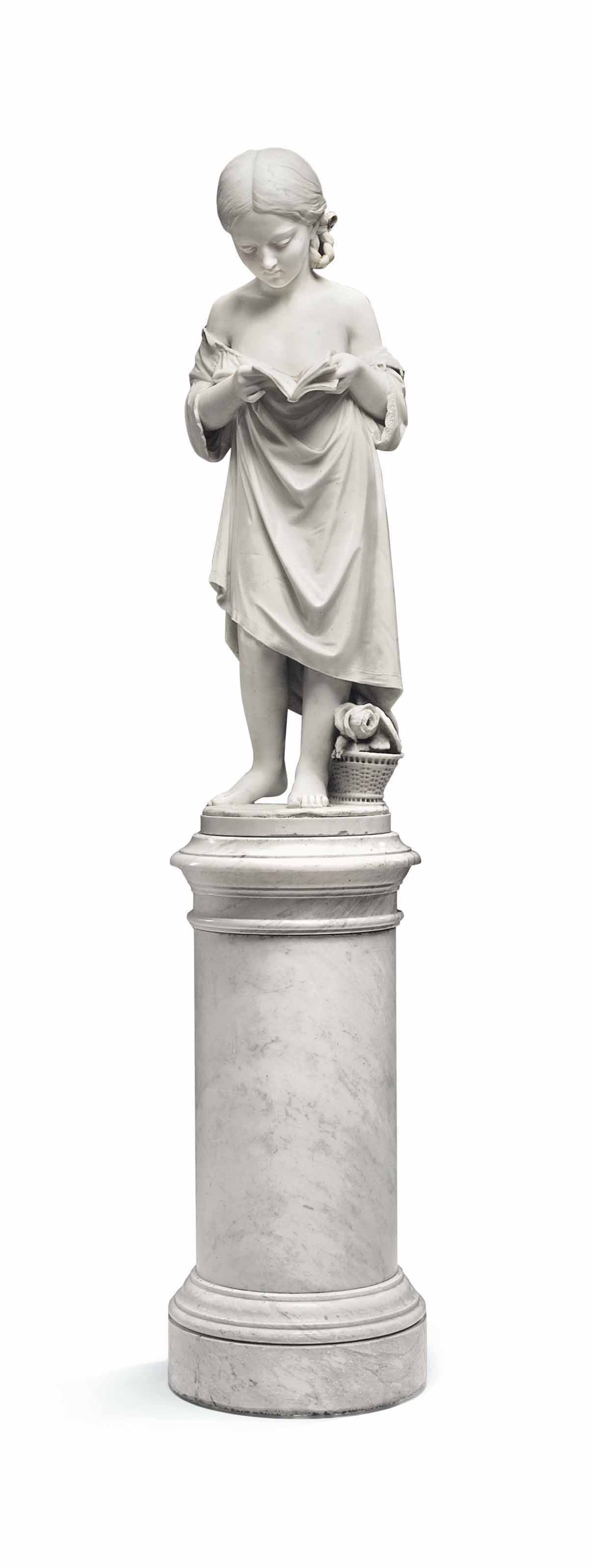 AN ITALIAN WHITE MARBLE OF A FIGURE TITLED 'BAMBINA CHE LEGGE', ON PEDESTAL