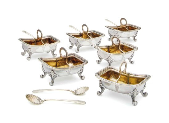 A SET OF SIX FRENCH SILVER AND