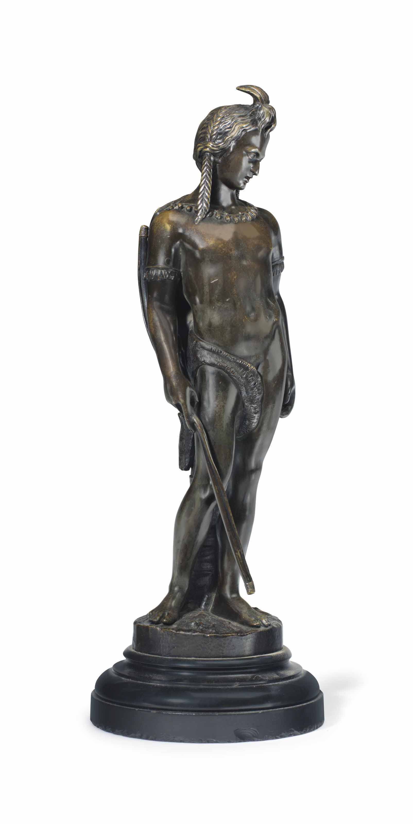 A FRENCH PATINATED BRONZE FIGURE OF A 'NOBLE SAVAGE'