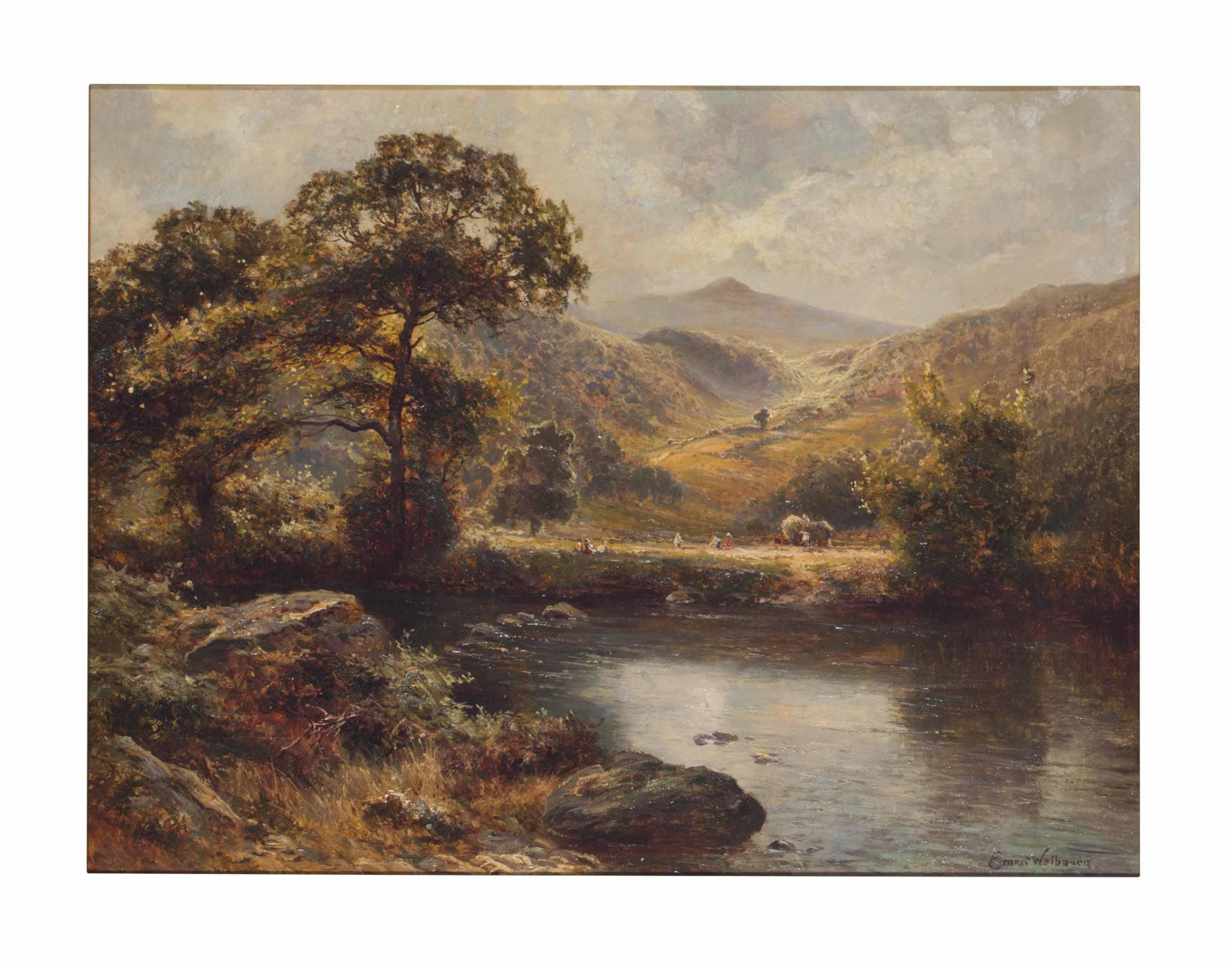 Figures alongside a lake in a mountainous landscape