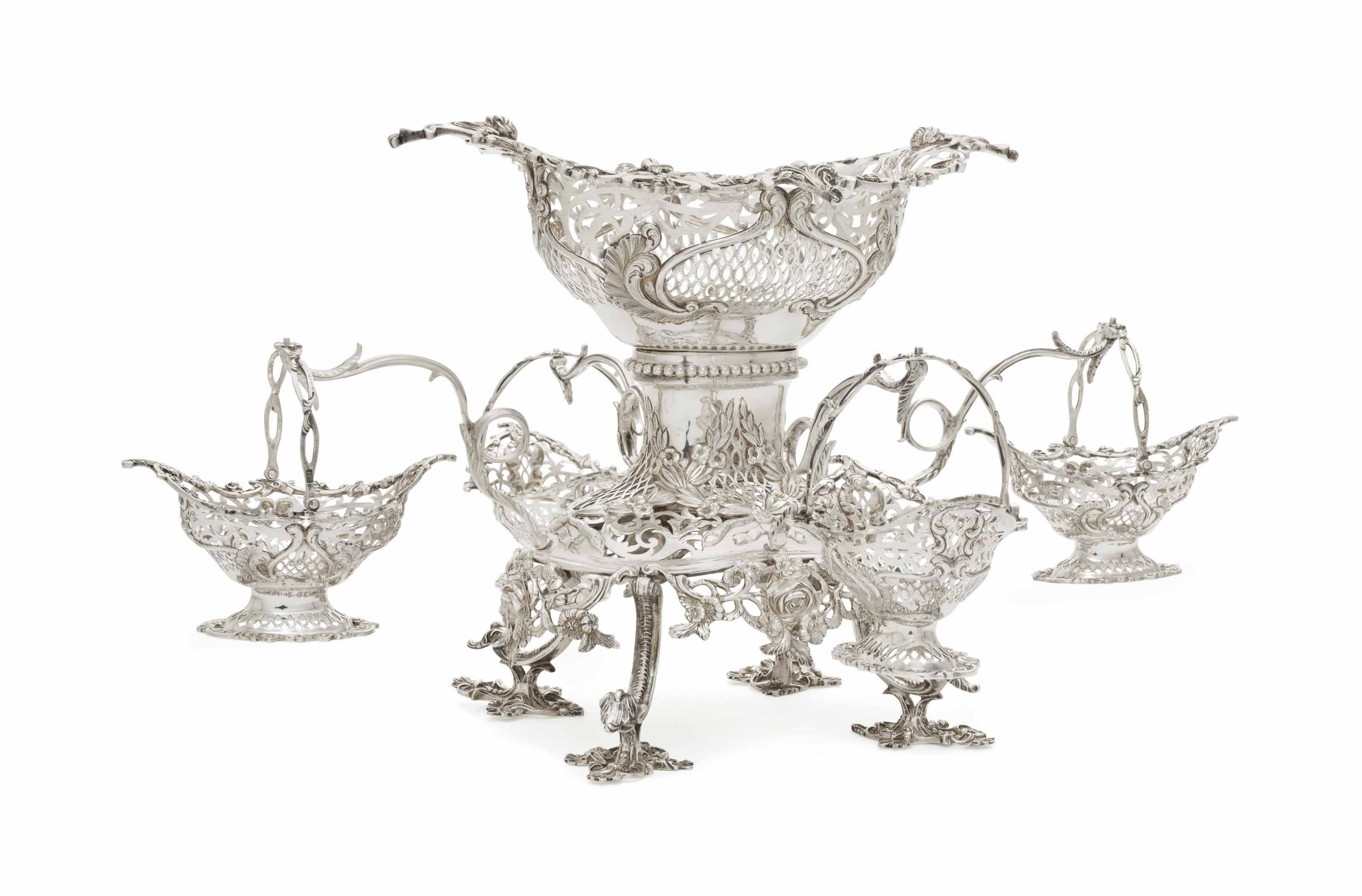 AN EDWARD VII SILVER EPERGNE