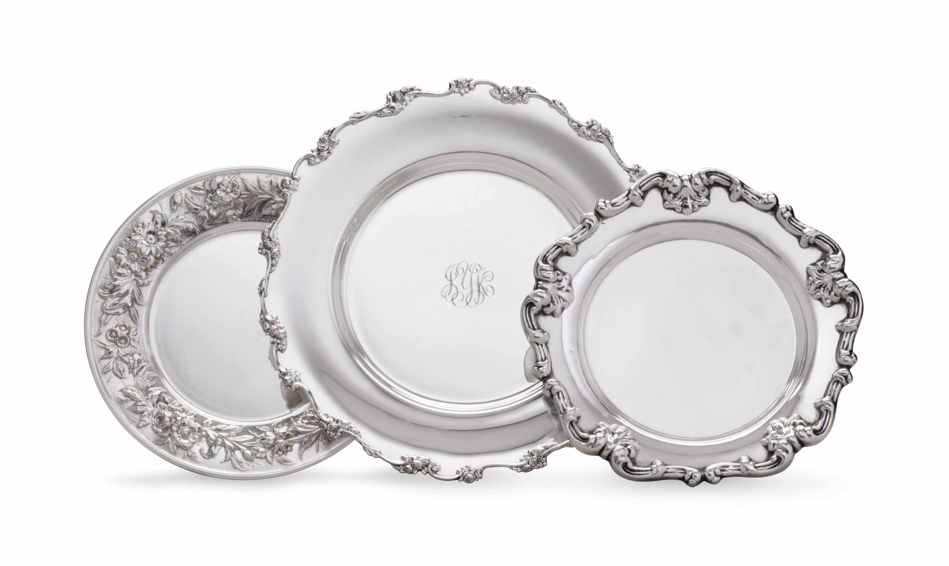 THREE SETS OF AMERICAN SILVER PLATES