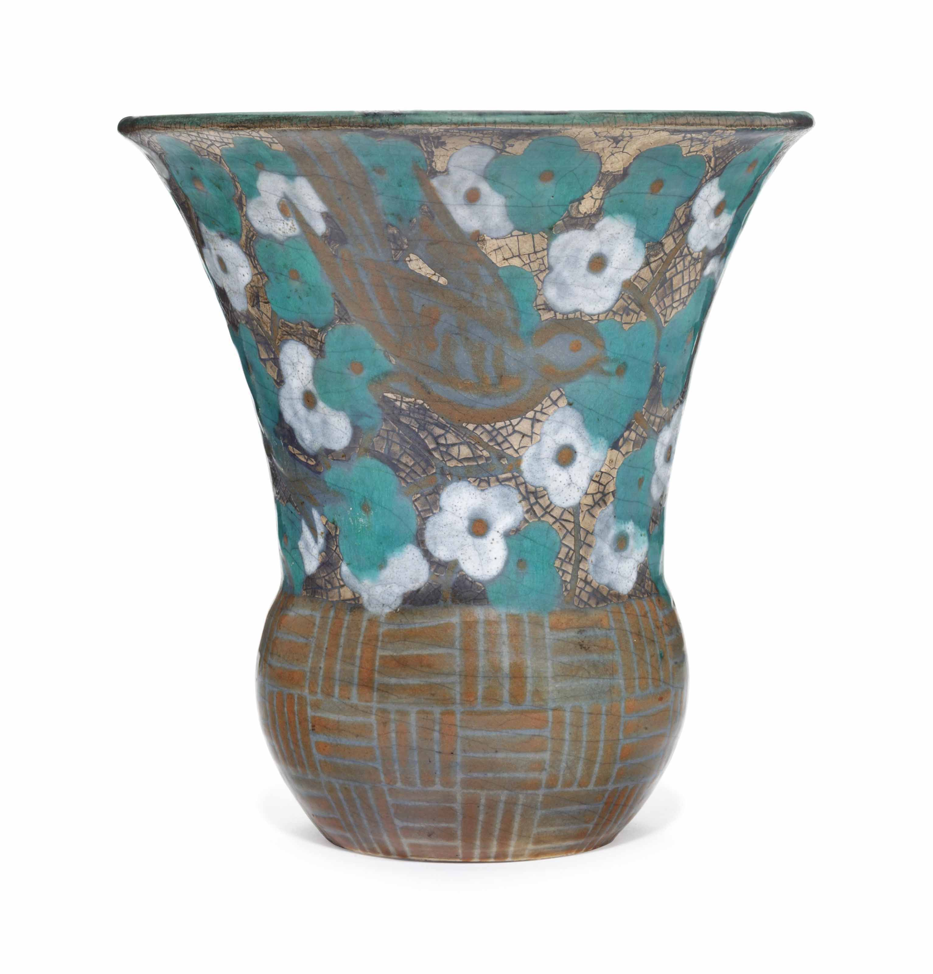 A FRENCH EARTHENWARE VASE