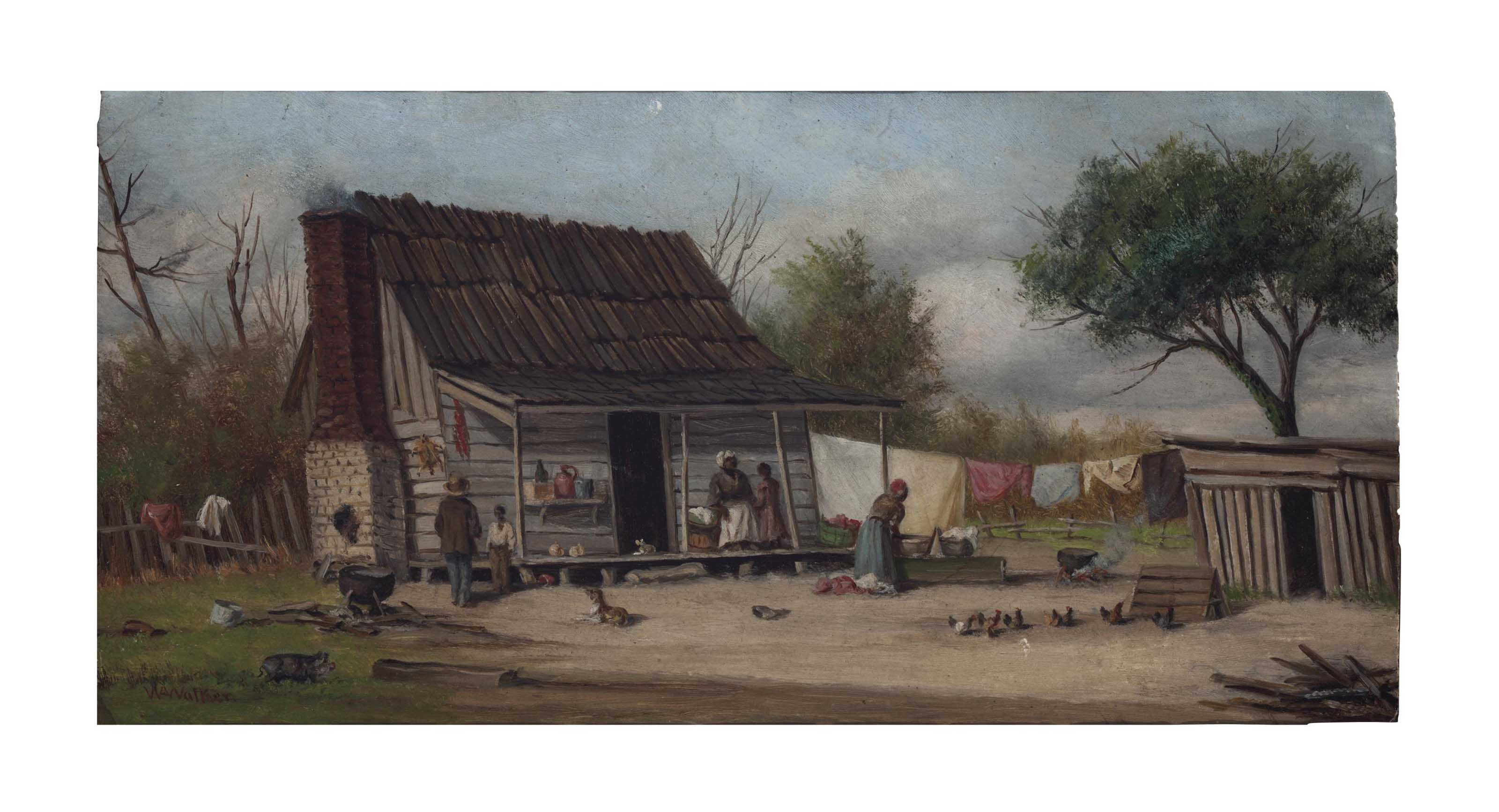 Cabin with figures and chickens
