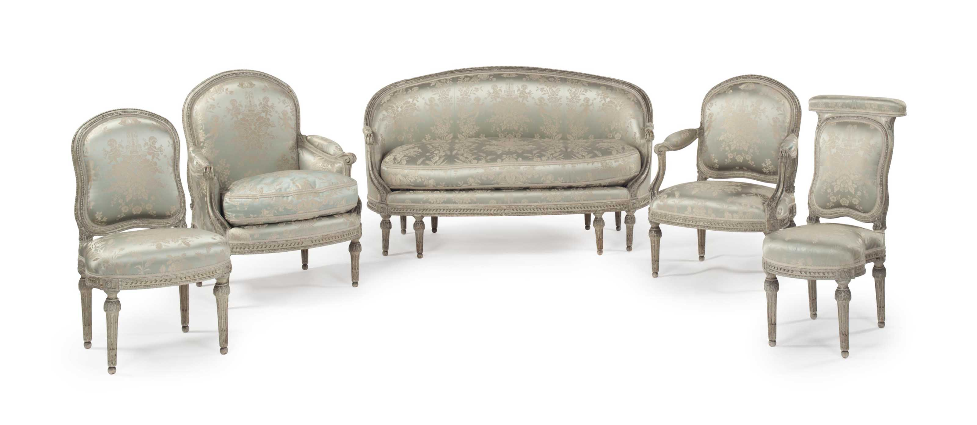 A SUITE OF LOUIS XVI GREY-PAINTED SEAT-FURNITURE
