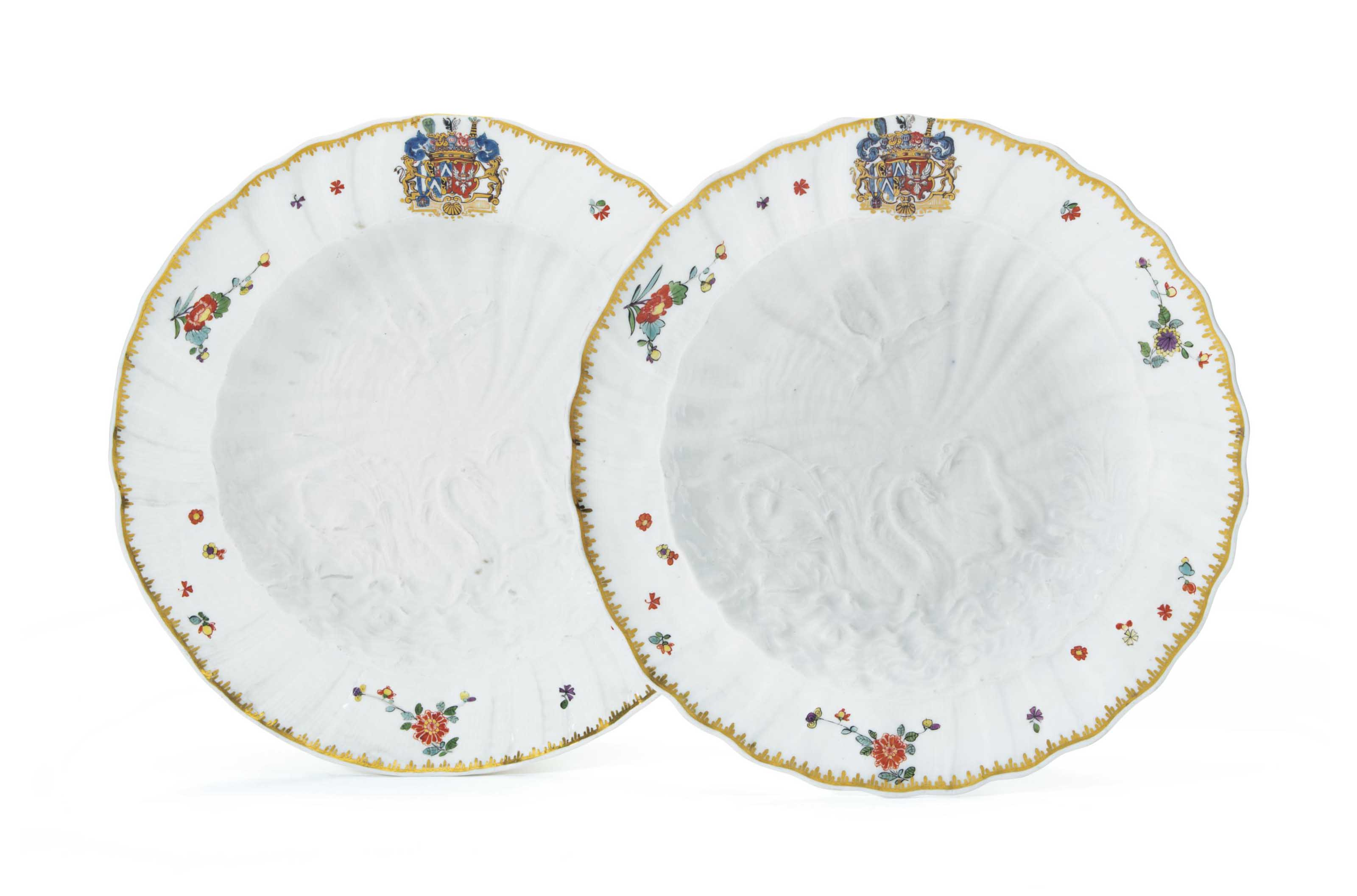 TWO MEISSEN PORCELAIN PLATES FROM THE 'SWAN SERVICE'