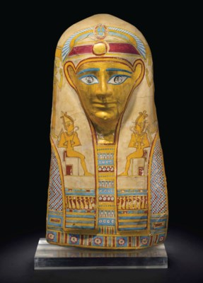 AN EGYPTIAN GILT CARTONNAGE MU