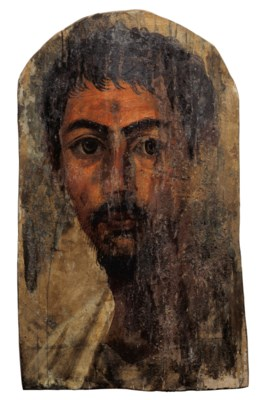 AN EGYPTIAN ENCAUSTIC ON WOOD
