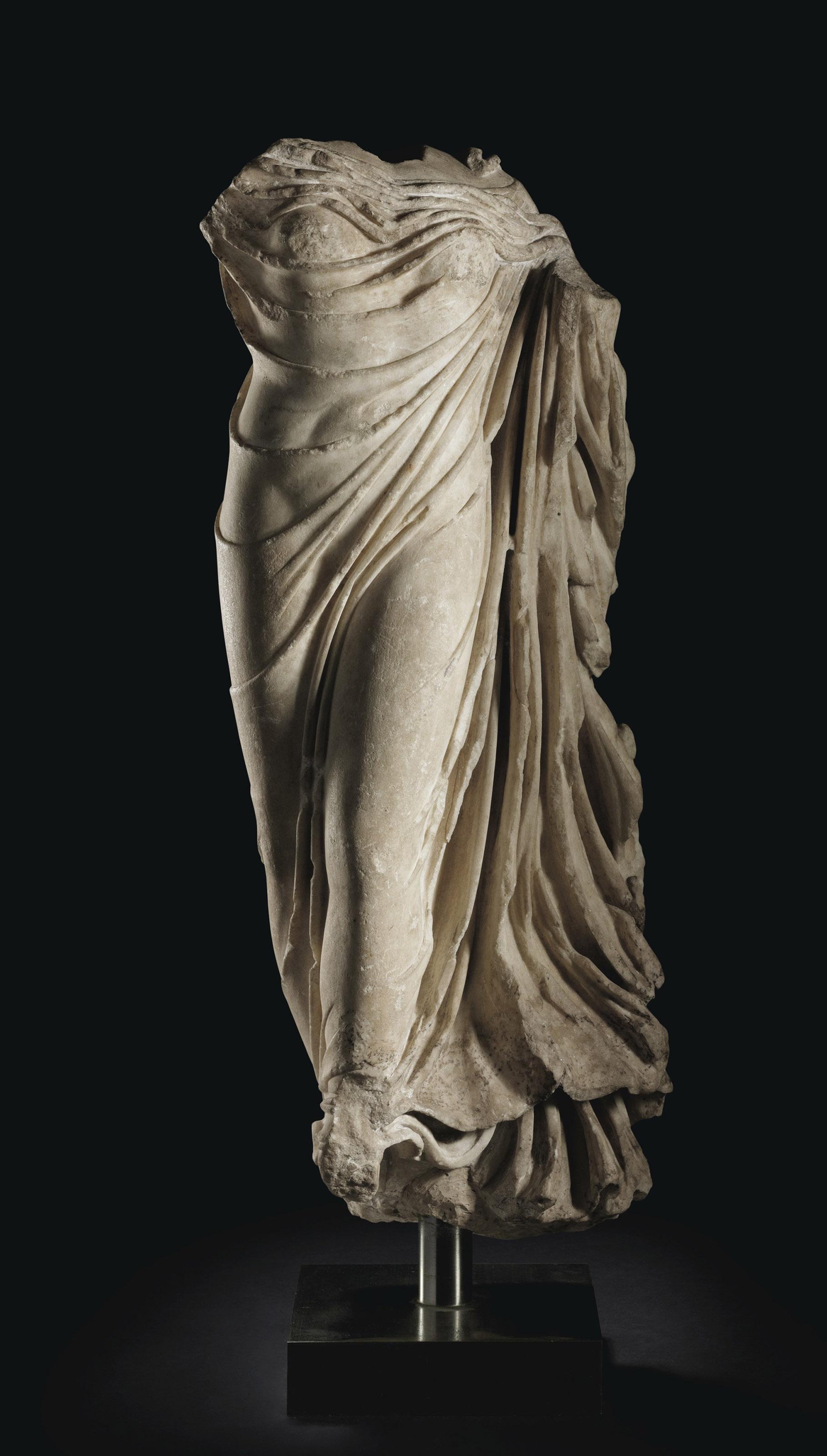 A ROMAN MARBLE DRAPED GODDESS