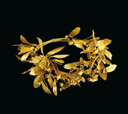 A GREEK GOLD OLIVE WREATH