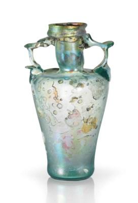 A ROMAN BLUE-GREEN GLASS TWO H