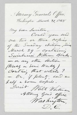 WHITMAN, Walt. Autograph lette