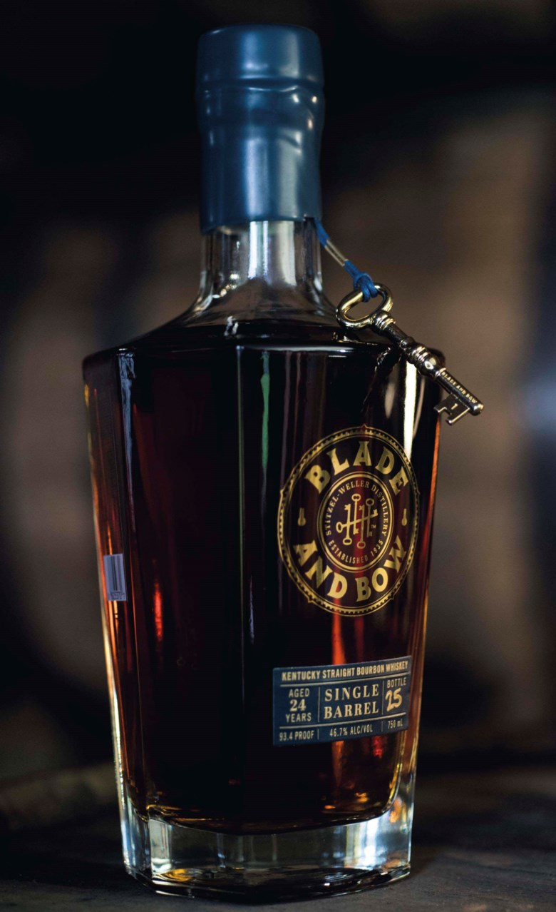 One Barrel of Blade and Bow Single Barrel 24-Year-Old Kentucky Straight Bourbon Whiskey, 34 bottles and 1 empty whiskey barrel per lot. Sold for $95,550 on 9 December 2016  at Christie's in New York