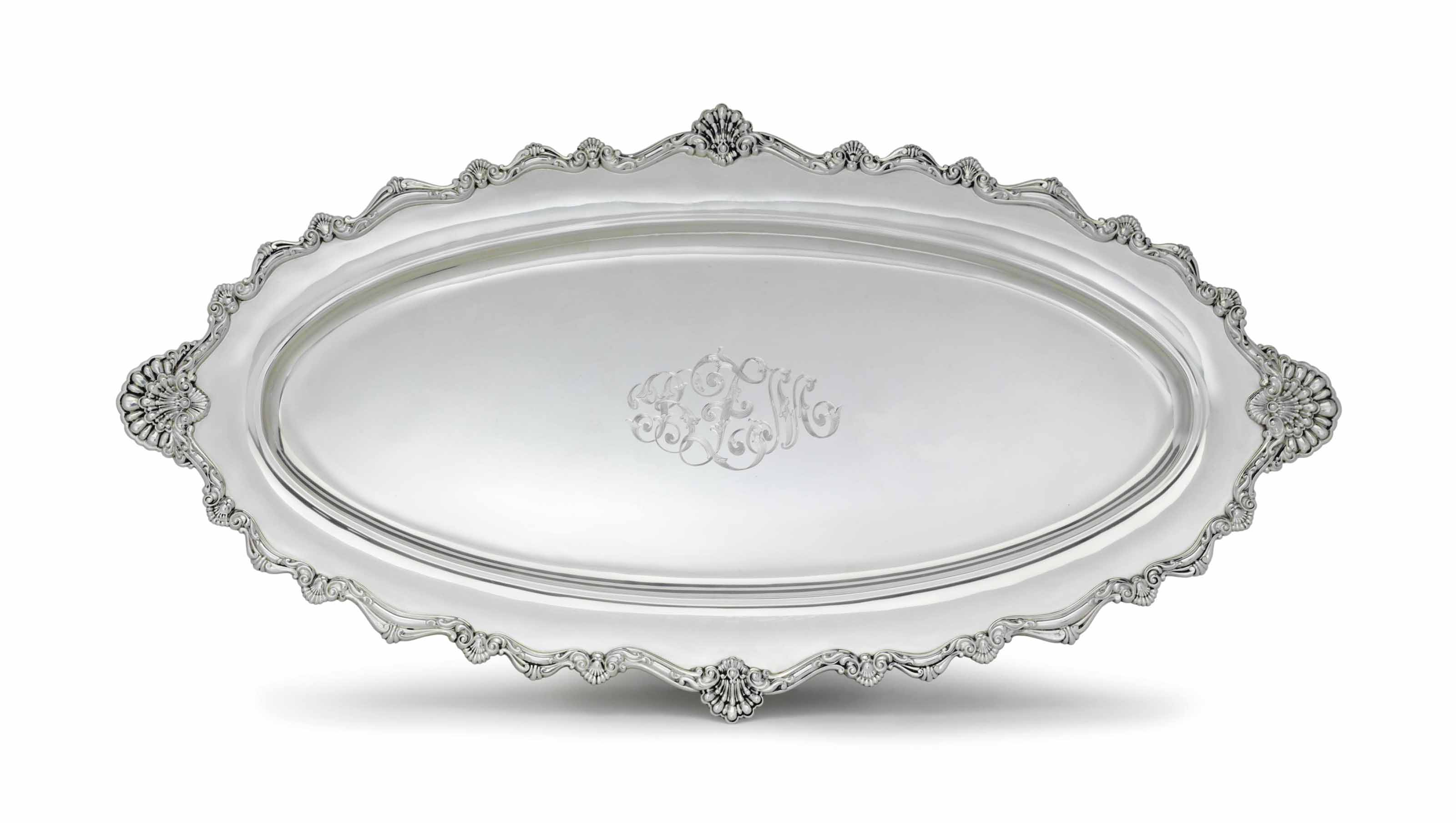 A SILVER OVAL FISH PLATTER