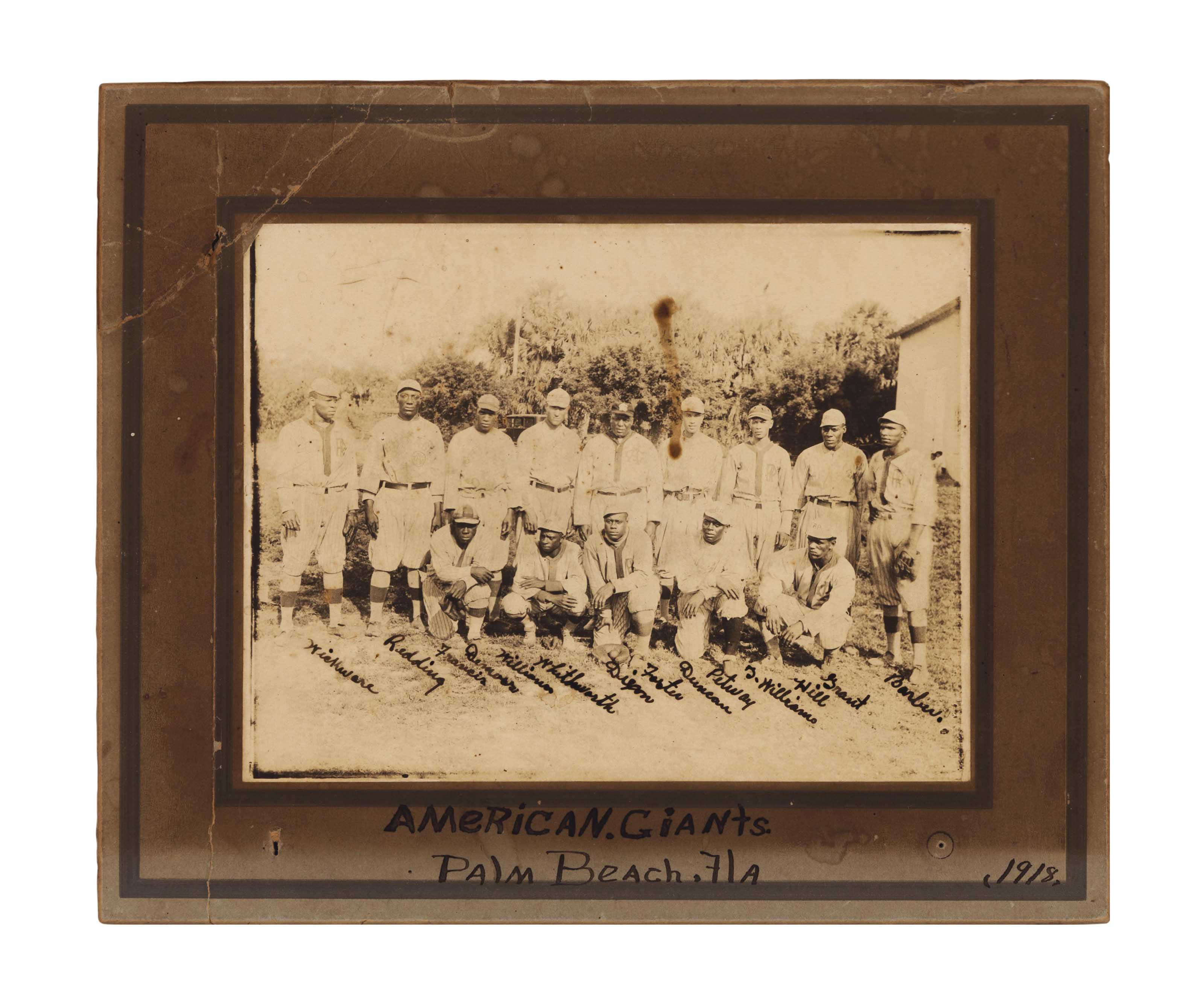 1918 CHICAGO AMERICAN GIANTS TEAM CABINET PHOTOGRAPH   19th ...