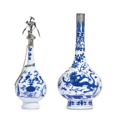TWO BLUE AND WHITE METAL-MOUNT