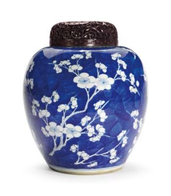 A BLUE AND WHITE OVOID JAR