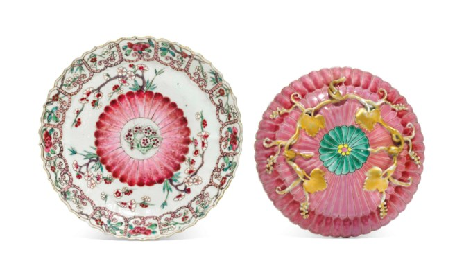 TWO FAMILLE ROSE MOLDED DISHES