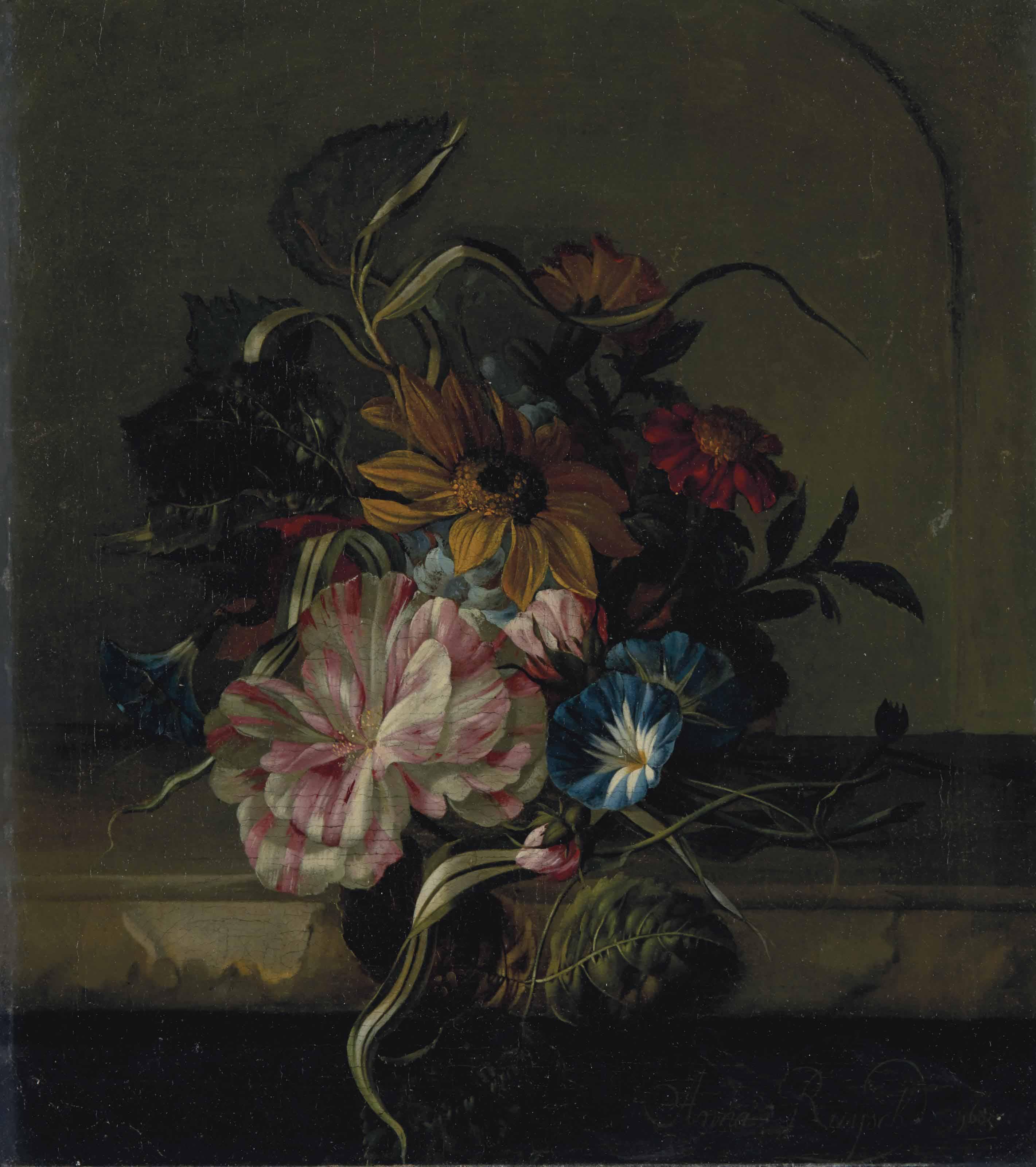 Tournesol, liseron et tulipe bicolore