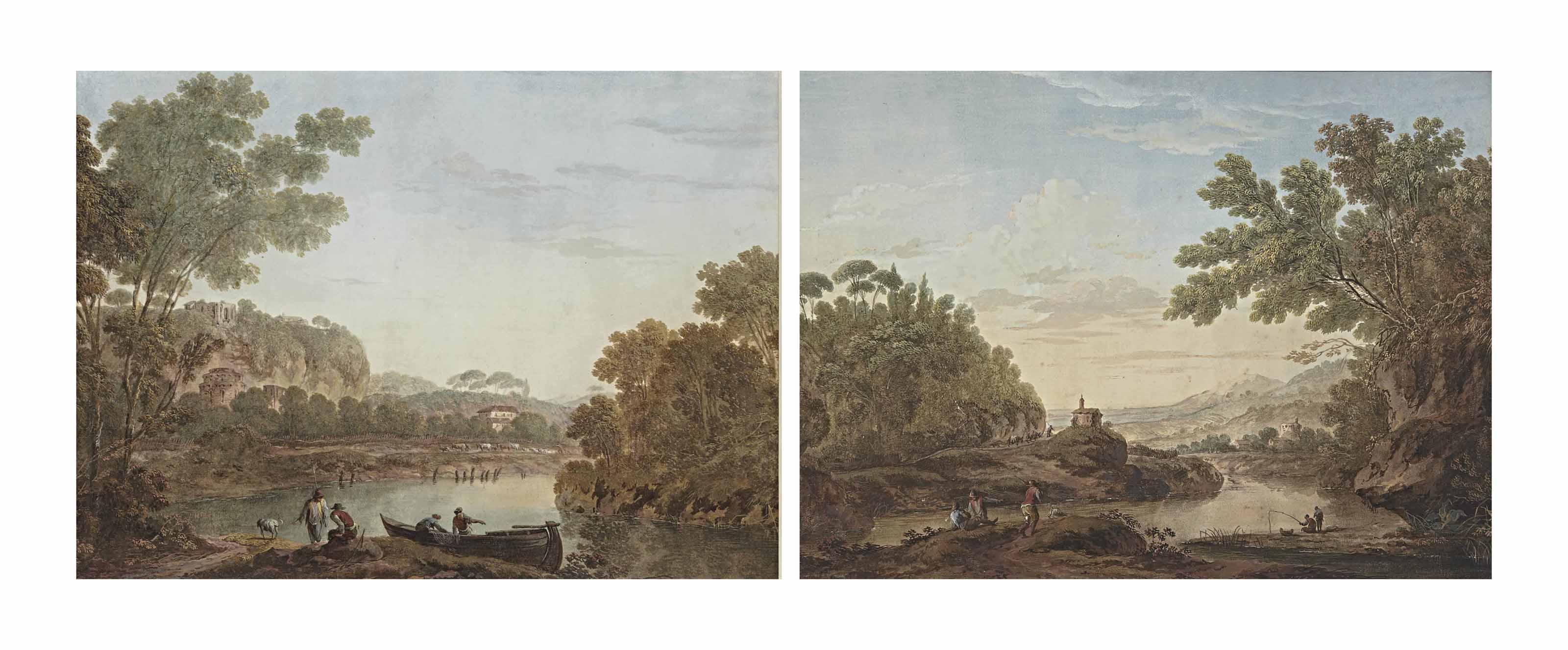 Pêcheurs dans une barque sur le bord du rivage; et Hommes discutant sur le bord du rivage dans un paysage arboré