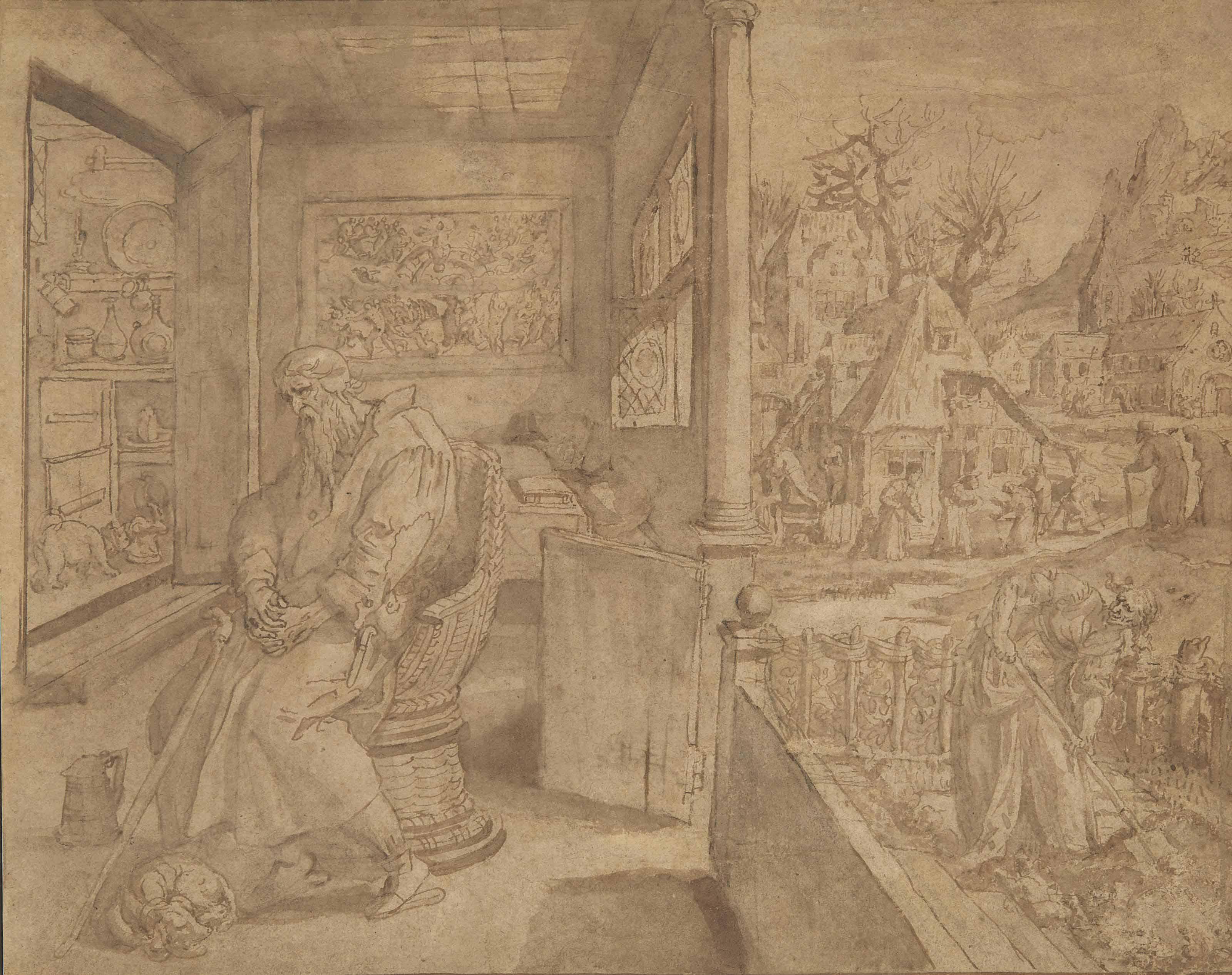 Ermite en méditation sur une terrasse couverte, une femme bêchant un potager à l'arrière-plan