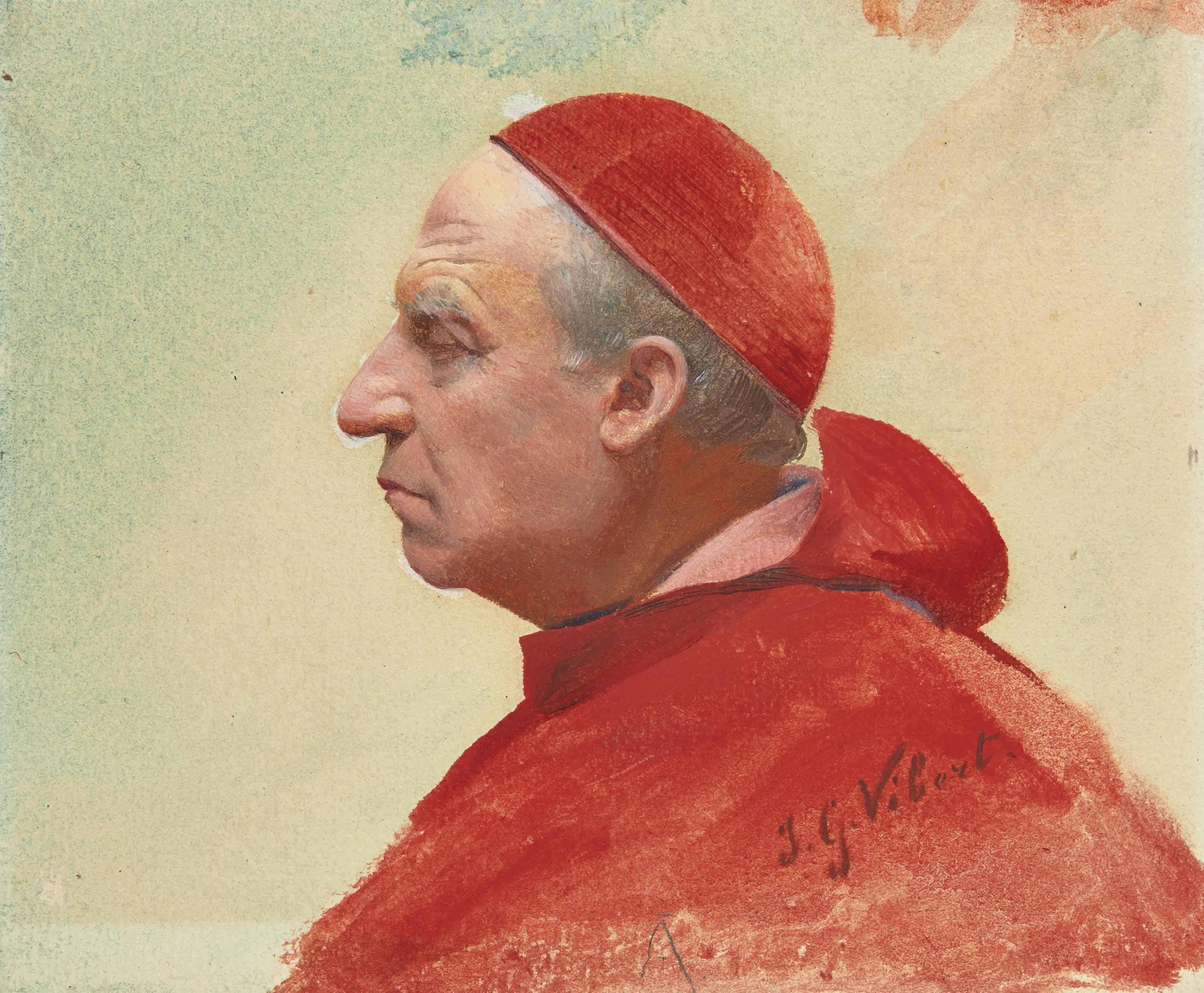 Portrait d'un cardinal en buste, de profil vers la gauche