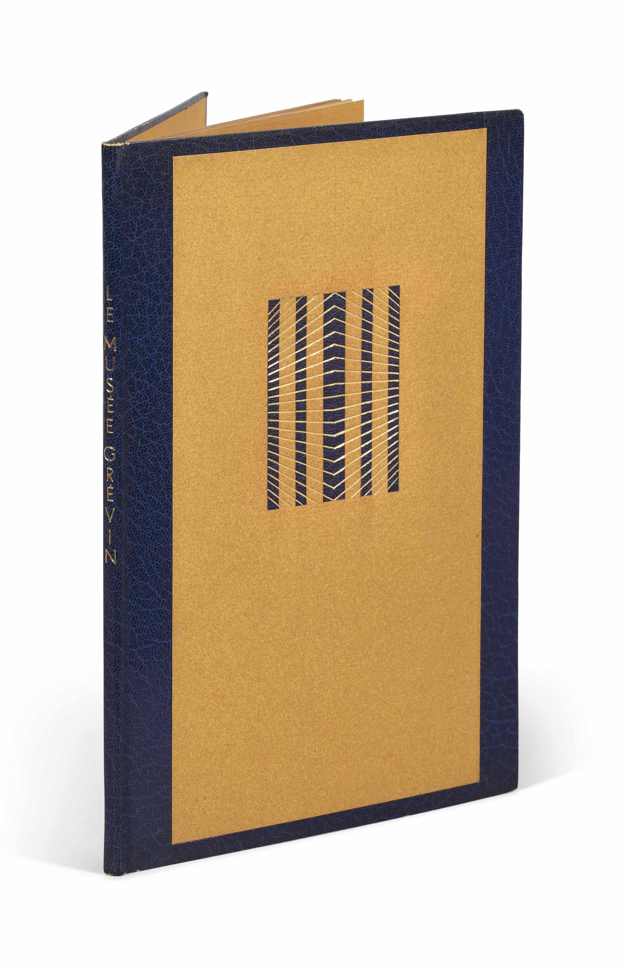 [Louis ARAGON (1897-1982)]. François LA COLÈRE. Le Musée Grévin. [Paris]: Bibliothèque Française, (1943). Plaquette in-8 (203 x 130 mm). Reliure signée Pierre-Lucien Martin, dos et encadrement de maroquin bleu marine, grande pièce rectangulaire de papier ocre jaune au centre des plats, sur le plat supérieur : découpe en fenêtre laissant quatre bandes verticales de papier symbolisant des barreaux traversées de filets dorés irradiants, dos lisse, titre en lettres dorées à la chinoise; non rogné, tête dorée, doublures et gardes de même papier, couvertures conservées, premier plat imprimé en noir, chemise plastique transparente (minimes frottements.)