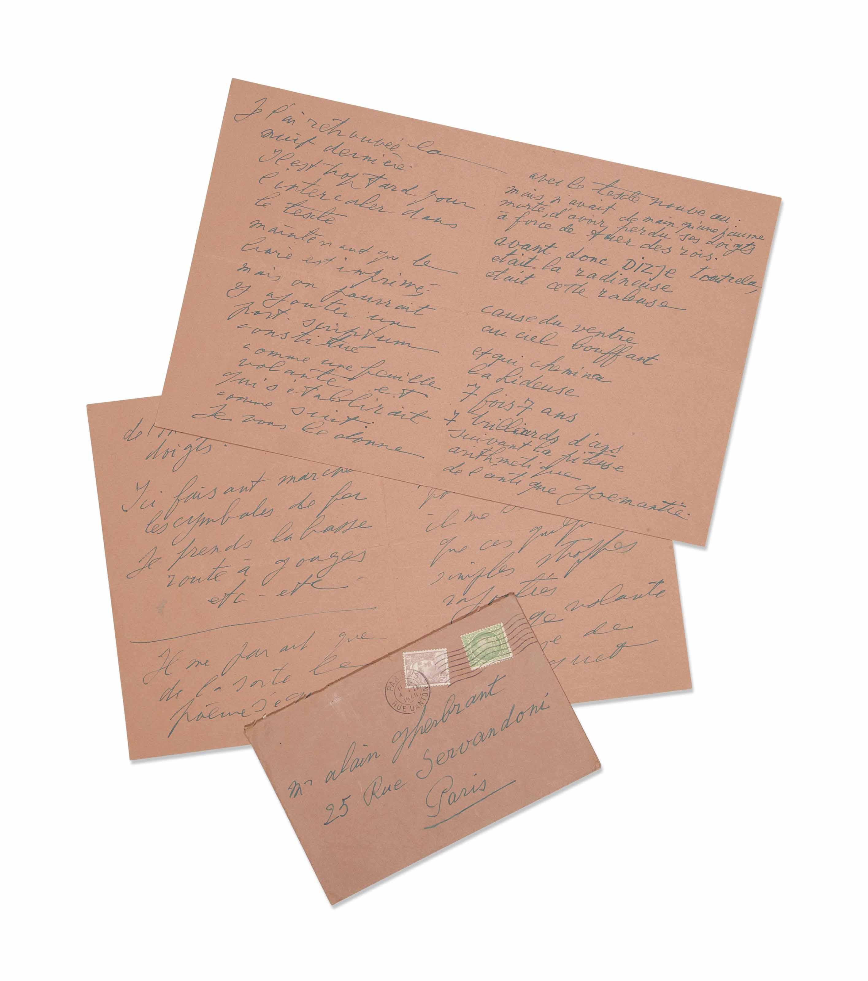 Antonin ARTAUD (1896-1948). Lettre autographe signée à Alain Gheerbrant, comportant un poème, datée «Ivry sur Seine 1er février 1948». 8 pages in-8 (190 x 150 mm). Avec enveloppe, suscription autographe « Mr Alain Gherbrant [sic] / 25 rue Servandoni / Paris » Encre bleue sur papier rose (pliures).