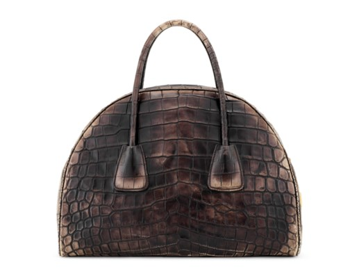 sac bowler vitello vintage en alligator mat vieilli caffe garniture en m tal dor prada 2013. Black Bedroom Furniture Sets. Home Design Ideas