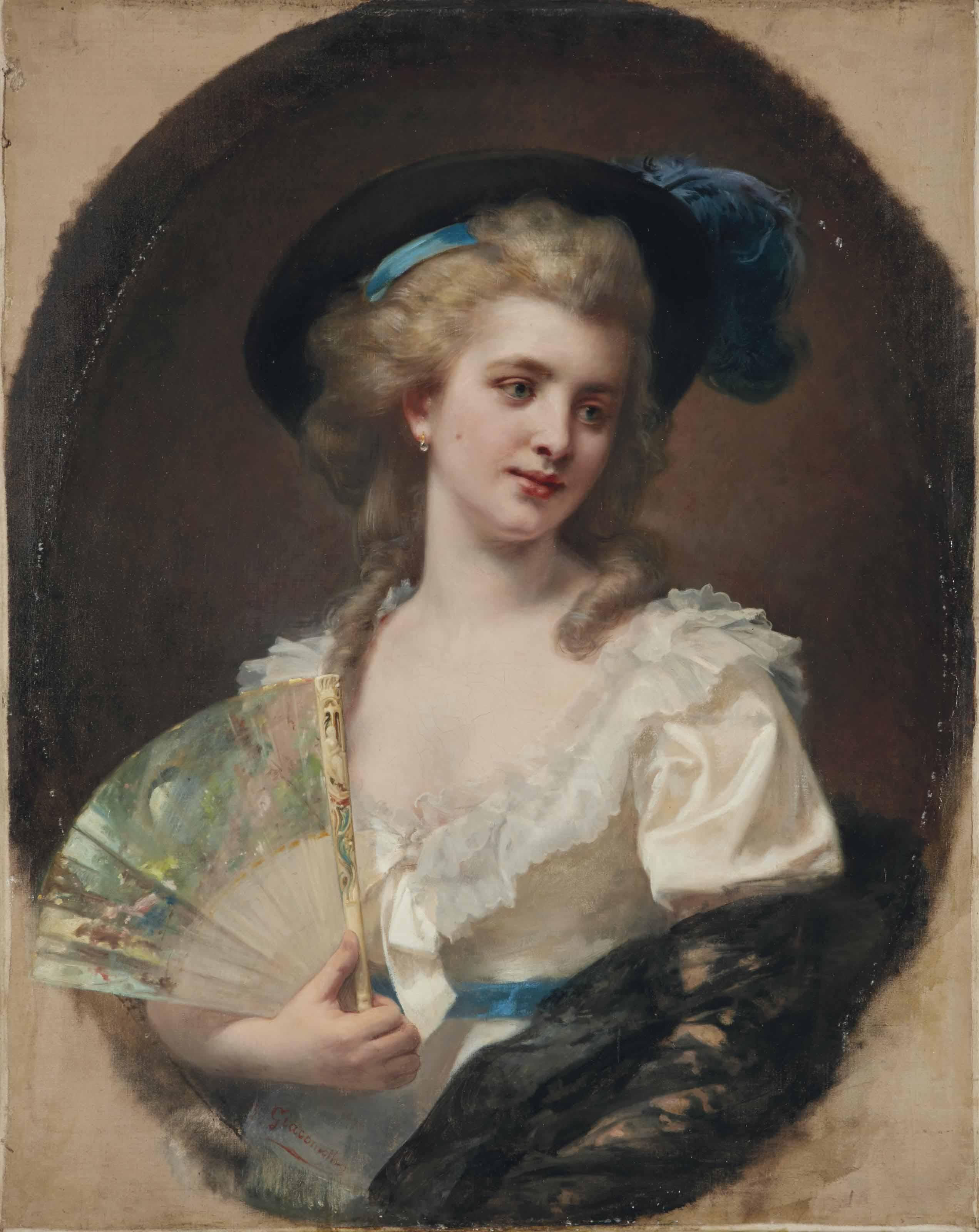 """""""En 1783"""" ou Portrait de femme au chapeau et éventail"""
