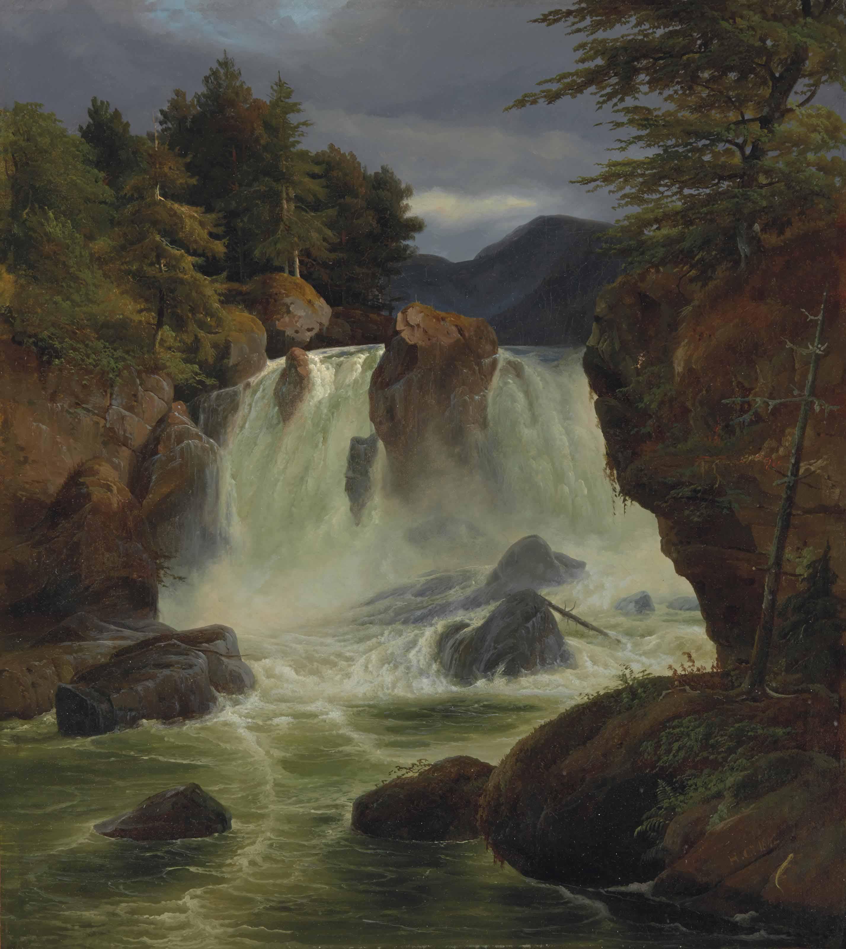 Vue de la cascade de Stora Möllan en Suède