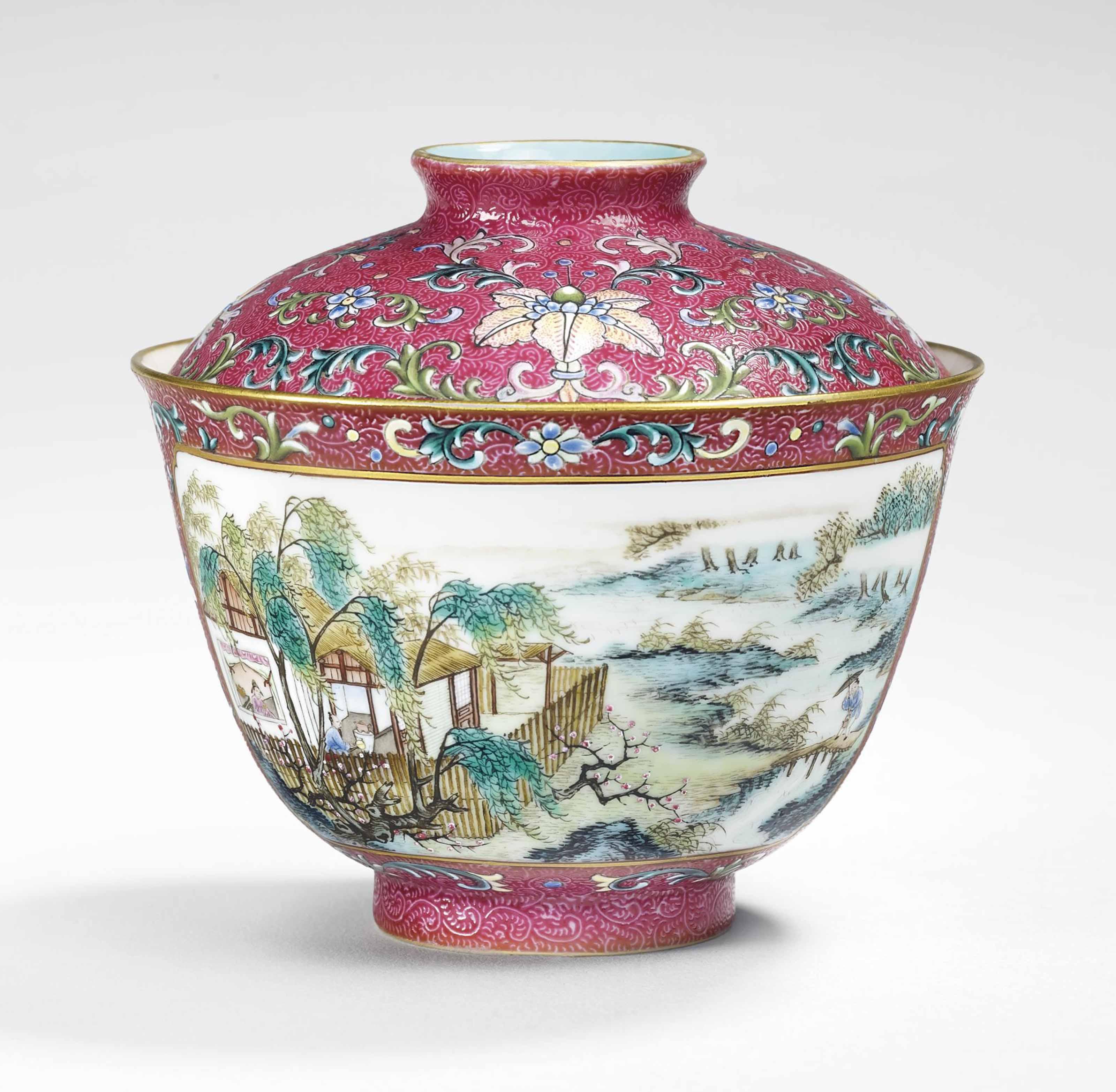 rare bol couvert en porcelaine de la famille rose chine dynastie qing marque a six. Black Bedroom Furniture Sets. Home Design Ideas