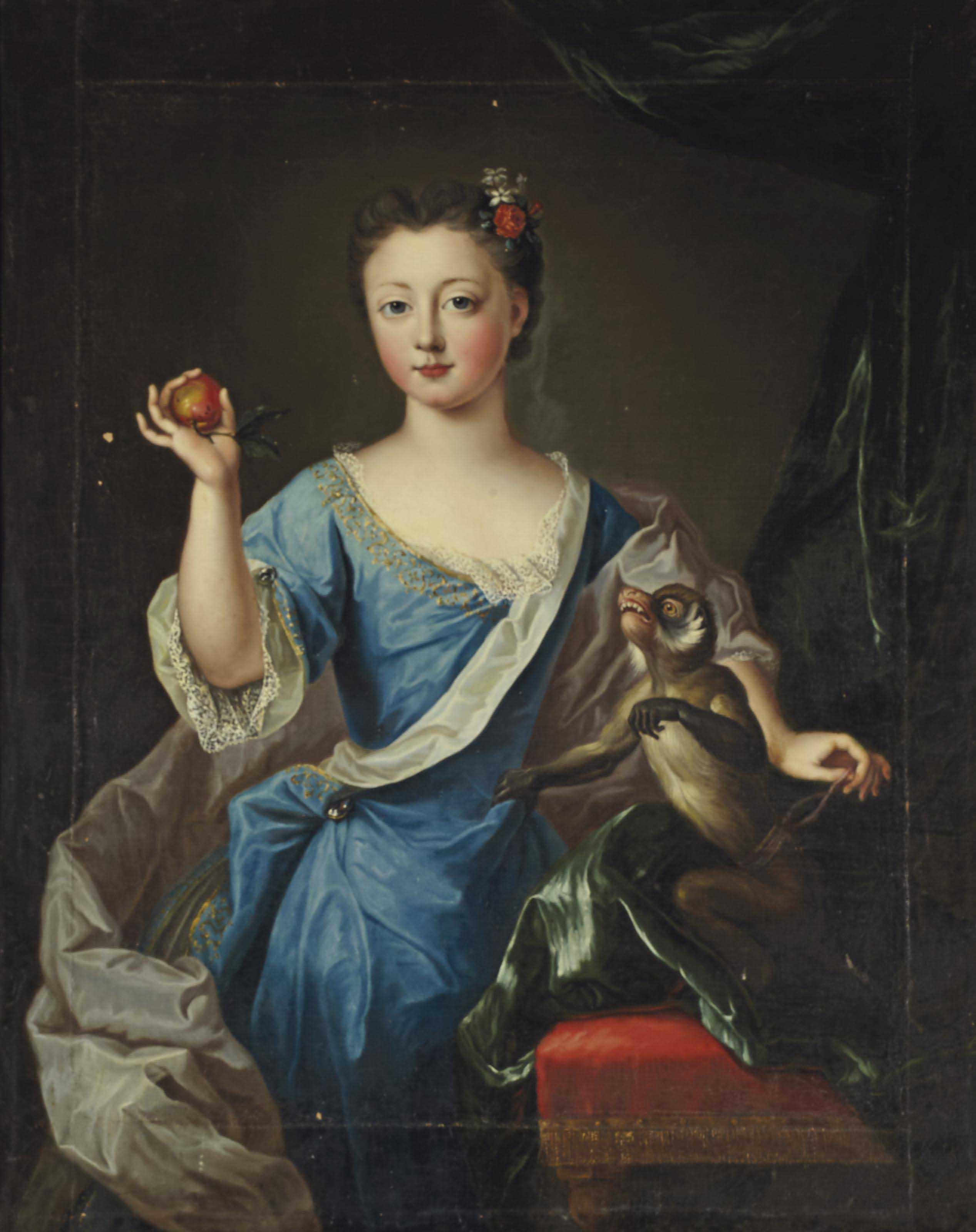 Portrait de jeune fille au singe