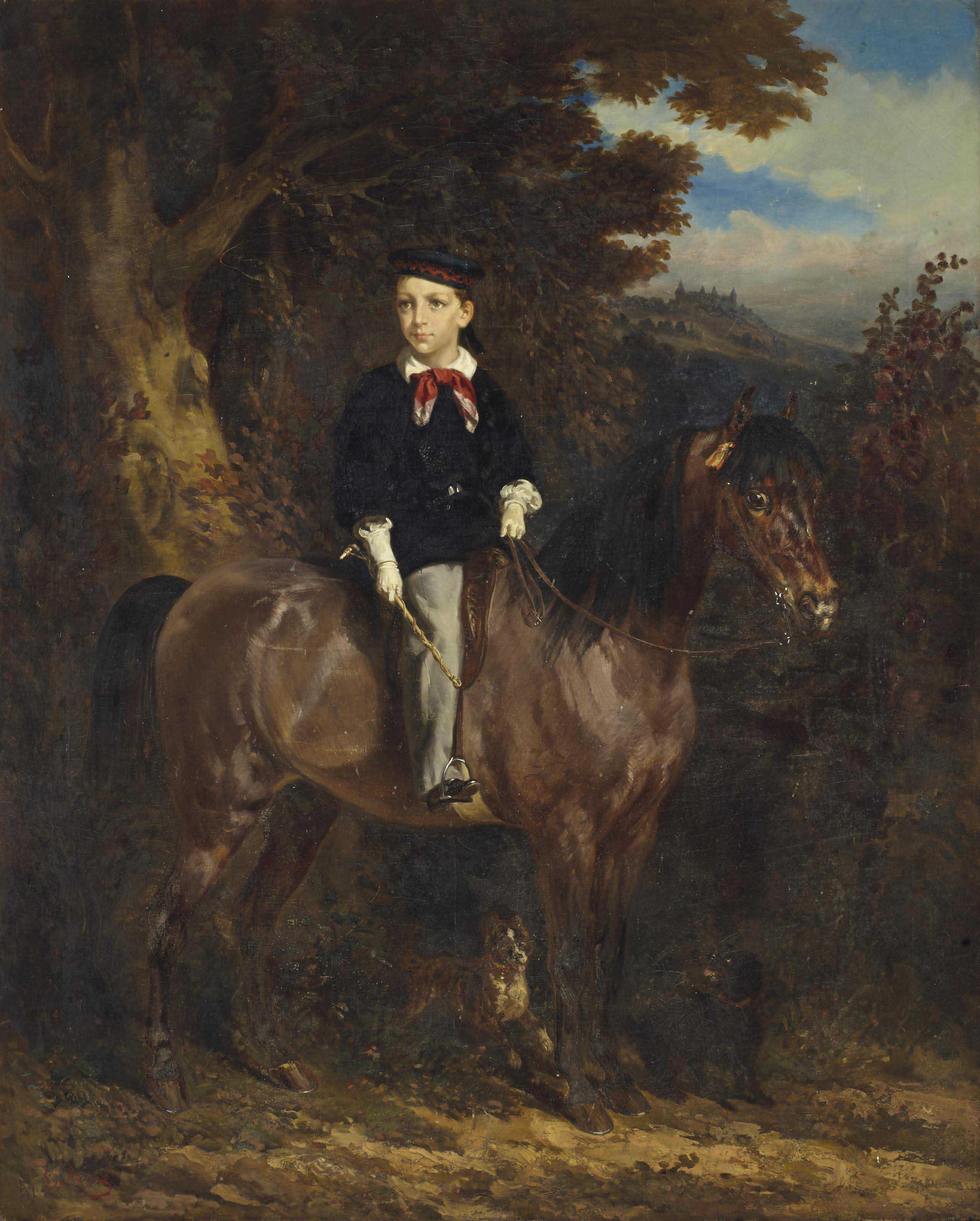 Portrait équestre de Thierry d'Alsace de Hénin-Liétard (1853-1934)